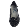 Black Dress Shoes w Bead Cluster & Bow on Toe Girls (ANNA)