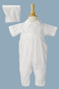 Pintucked & Pleated Cotton Blend Boys Baptism Romper w. Hat  BJ01CS