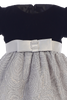Silver Corded Tulle & Black Velvet Girls Christmas Holiday Dress (997)