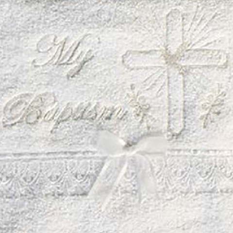 Gold Embroidery & Cross Baby Baptism Towel Cotton Terry (B-99)