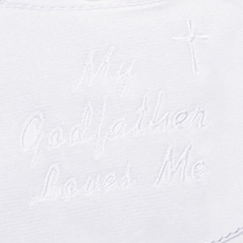 My Godfather Loves Me - Embroidered Christening Bib (AGFXB1)