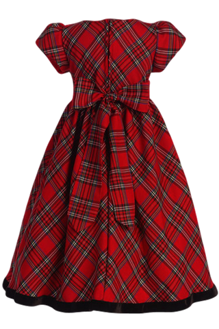 Navy Blue & Green Plaid Girls Holiday Dress w. Velvet Trim  C813