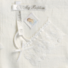 Baptism Blanket White Acrylic Knit with Satin Hankie (B-6)