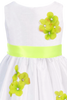 Lime Green Dimensional Flowers on White Shantung Girls Dress (204-F)
