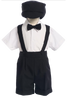 Black Suspender Shorts 4 Pc Spring Occasion Outfit Baby & Toddler Boys (850)