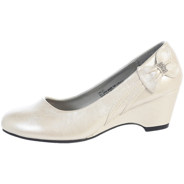 Wedge Heel Ivory Dress Shoes with Side Bow Girls (GINA)