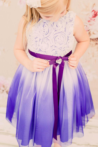 Purple Ombré Tulle Girls Dress with Rosette Bodice  KD322