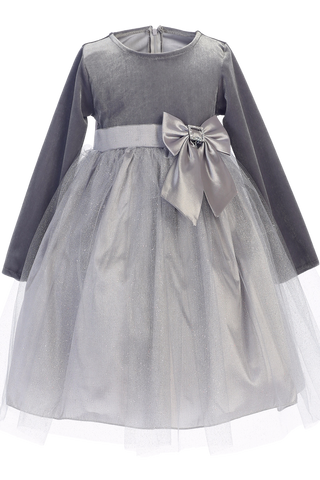 Silver Long Sleeve Velvet & Glitter Tulle Girls Holiday Dress  C994