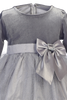 Silver Velvet & Glitter Tulle Girls Christmas Holiday Dress (C994)