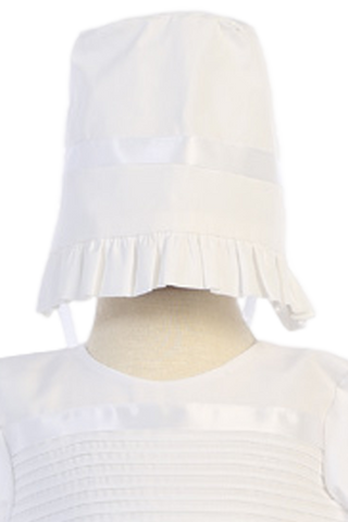Unisex Poly Cotton Christening Gown w Hat & Bonnet (Riley)