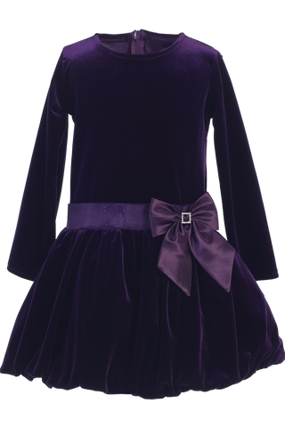 Purple Velvet Drop Waist Girls Christmas Holiday Dress w Tucked Hem (C995)