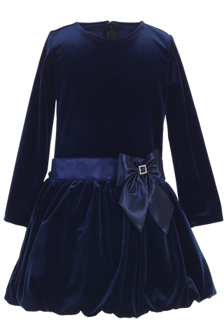 Navy Blue Velvet Drop Waist Girls Christmas Holiday Dress w Tucked Hem (C995)