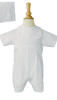 Classic Poly Cotton Handmade Christening Romper Outfit w Screened Cross (BJ30RS)