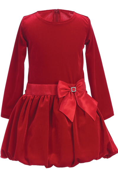 Red Velvet Drop Waist Girls Holiday Dress w Bubble Hem  C995