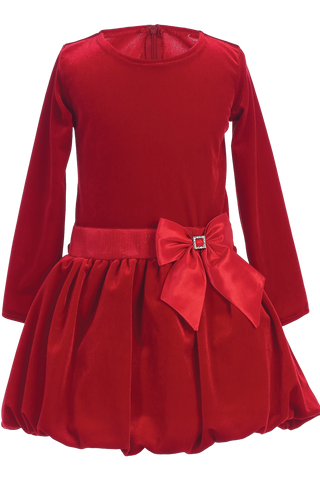 Red Velvet Drop Waist Girls Christmas Holiday Dress w Tucked Hem (C995)