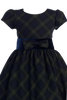 Green & Blue Plaid Girls Christmas Holiday Dress w Blue Velvet Trim  (C813)