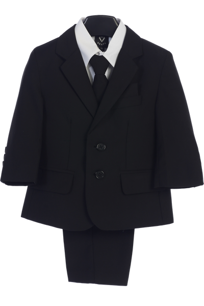 Black 5-pc Boys Two Button Suit with Vest  3582