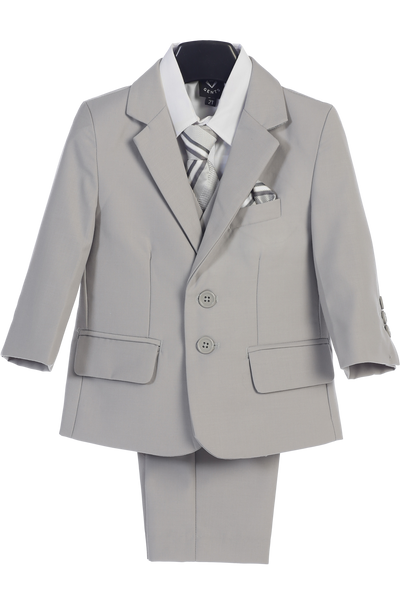 Light Gray 5-pc Boys Husky Two Button Suit with Vest 3582