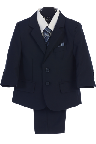 Navy 5-pc Boys Husky Two Button Suit with Vest 3582