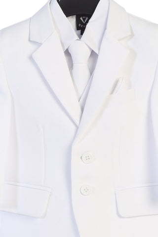 White 5-pc Boys Two Button Suit with Vest  3585
