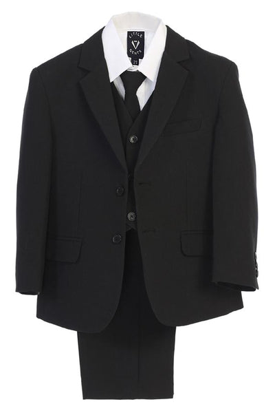 Black 5pc Boys Two Button Suit with Vest 3585