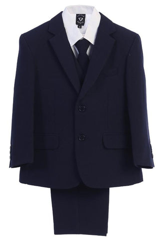 Navy 5pc Husky Boys Two Button Suit with Vest 3585