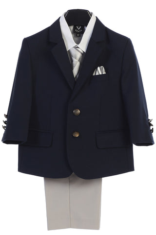 Boys Navy 4pc Suit w. 2-Button Jacket & Light Grey Pants 3588