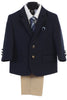 Boys Navy 4pc Suit w. 2-Button Jacket & Khaki Pants 3588