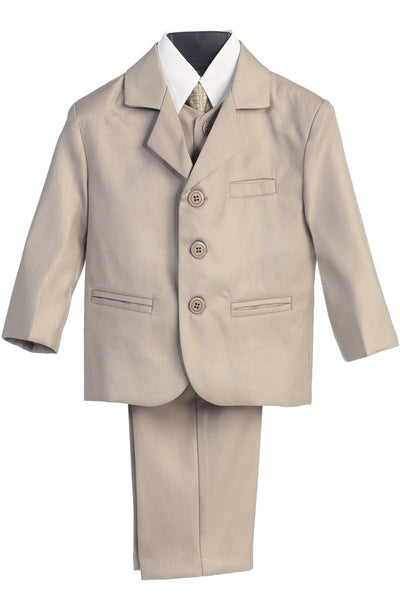 Boys Khaki 5pc Dress Suit w. 3-Button Jacket 3710