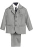 Boys Light Grey 5pc Dress Suit w. 3-Button Jacket 3710
