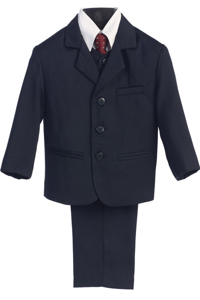 Boys Navy Pinstripe 5pc Dress Suit w. 3-Button Jacket 3720