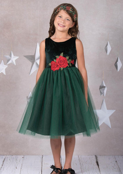 Girls Green Floral Velvet Holiday Dress with Three-Layer Tulle Skirt 2T-12 KD396