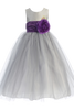 Silver Polysilk Flower Girl Dress w. Ballerina Tulle Skirt & Custom Sash  BL228