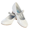 White Short Heel Dress Shoes w Rhinestone Strap Girls (MIA)