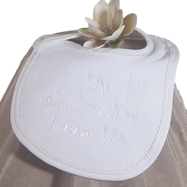My Godmother Loves Me - Embroidered Christening Bib (AGMXB1)