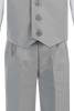 Light Grey Vest & Pleated Pants Outfit 4 Piece Occasion Suit (Baby 6 months - Boys Sz 14)