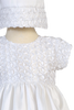 Ribbon Flower Embroidery on White Taffeta Baby Girls Christening Dress - Hailey