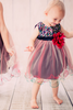 Red & Black Sequins & 3 Layers Tulle Dress Baby Girls (KD328)