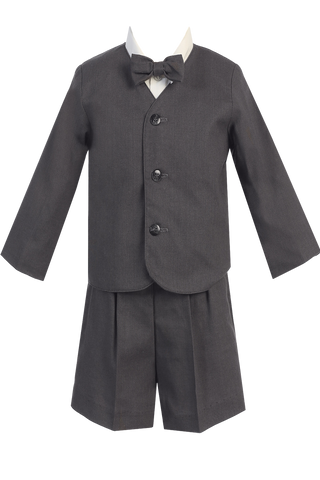 Boys Charcoal Grey 4pc Linen Eton Jacket & Shorts Dresswear Set  G828