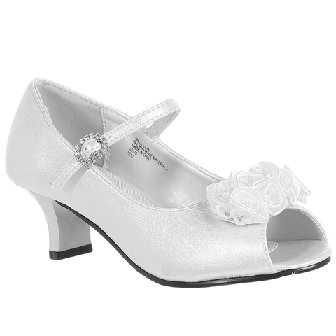 White Open Toe Short Heel Dress Shoes w Top Strap Girls (NANCY)