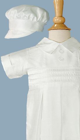 Boys 100% Silk Dupioni Christening Coverall Set w. Hat 0-24m DP19CS