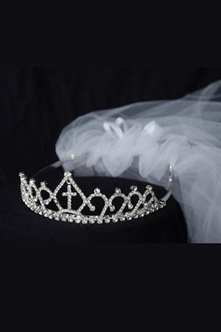 Rhinestone Crown Tiara w. Cross & White Tulle Communion Veil Veil006
