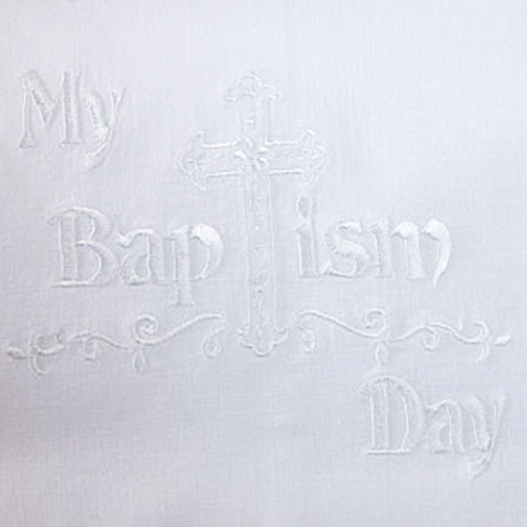 Baptism Towel Embroidered White Cotton with Cluny Lace (BAPTOWEL)