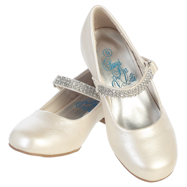 Ivory Short Heel Dress Shoes w Rhinestone Strap Girls (MIA)