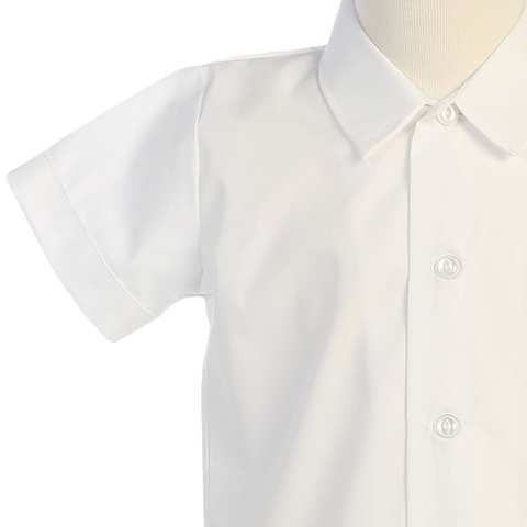 Boys White Short Sleeve Button Down Dress Shirt  800