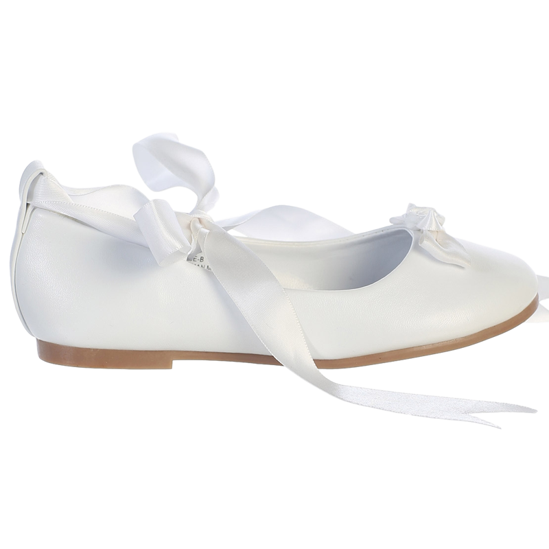 2bd7ae64ce6 Ballet Flats White Dress Shoes w Satin Ribbon Tie Girls – Rachel s ...