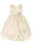 Baby Girls Metallic Jacquard Champagne Dress w. Mesh Overlay KD156