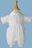 Hand Pin Tucked Boys Baptism Romper w. Pleated Legs  BJ05RS
