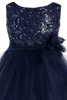 Navy Blue Sequins & 2 Layered Mesh Girls Formal Occasion Dress (305)
