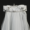 Rhinestone & Silver Crown Tiara First Communion Veil (T-19)